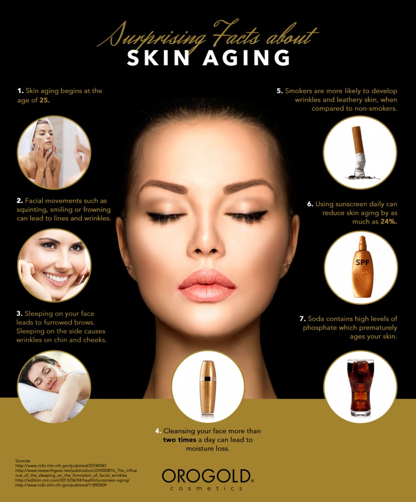 Facts about skin aging infographic.