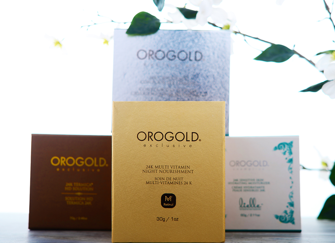 Various Orogold products in a triangle arrangement