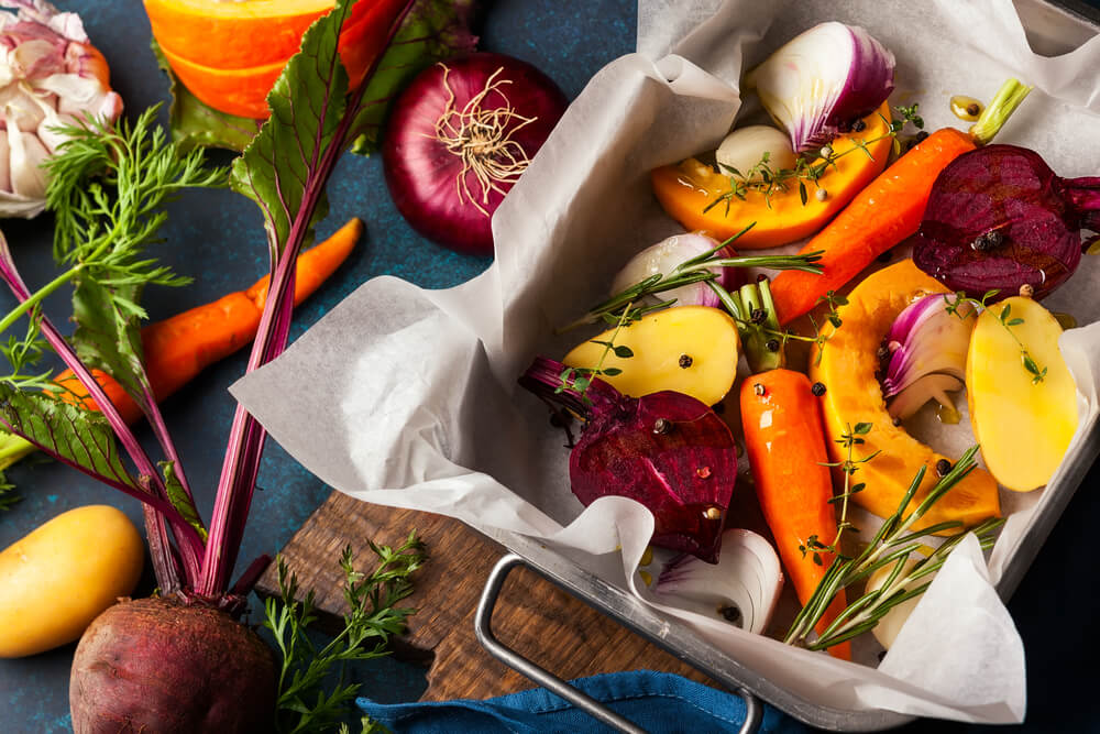 Fall foods on baking tray
