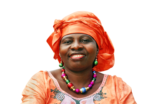 African woman with colorful accessories