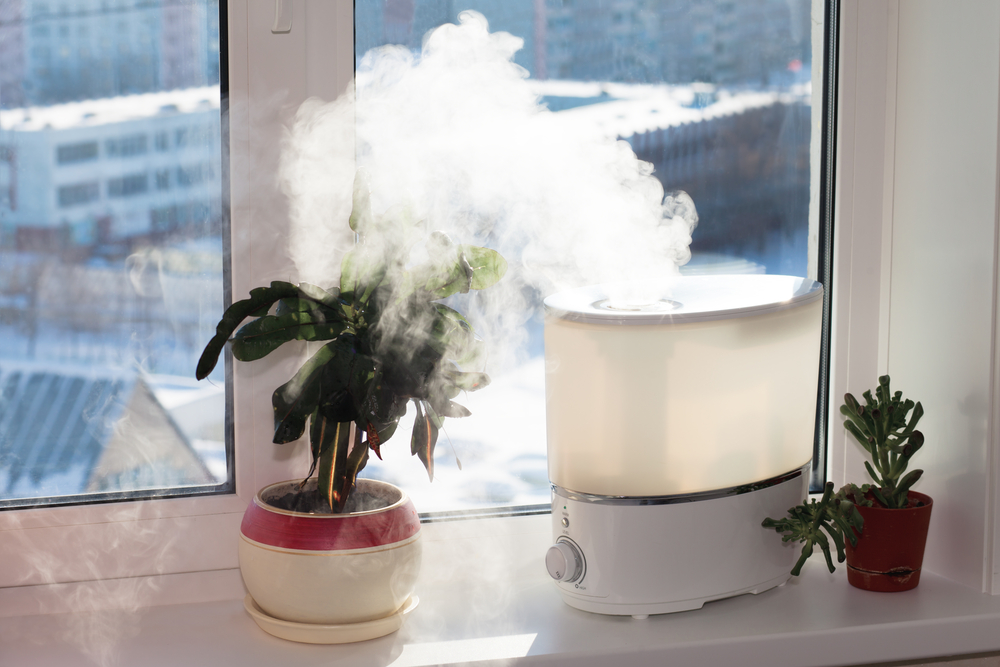 Woman using a humidifier.