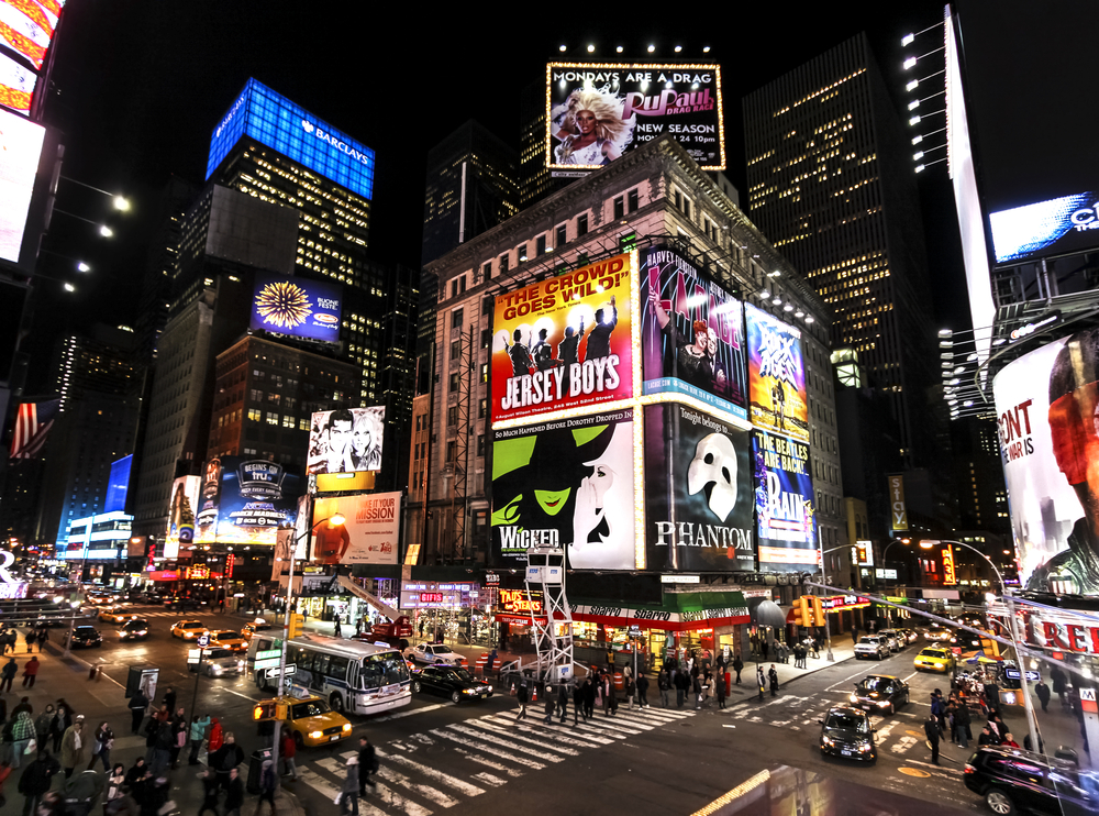 Broadway advertisements in the Times Square, New York
