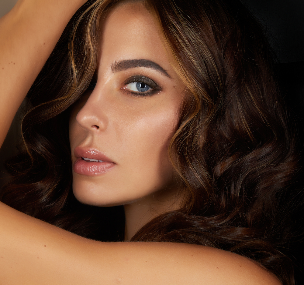 Woman with beautiful eyebrows.