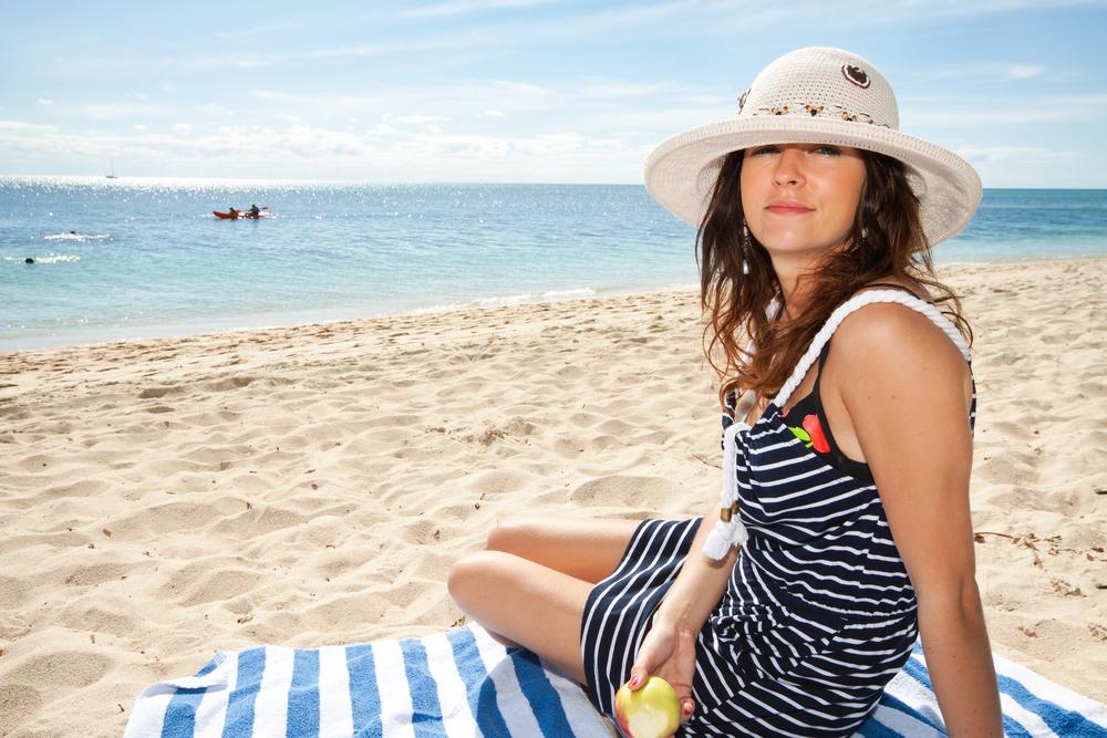 Woman in a beach.