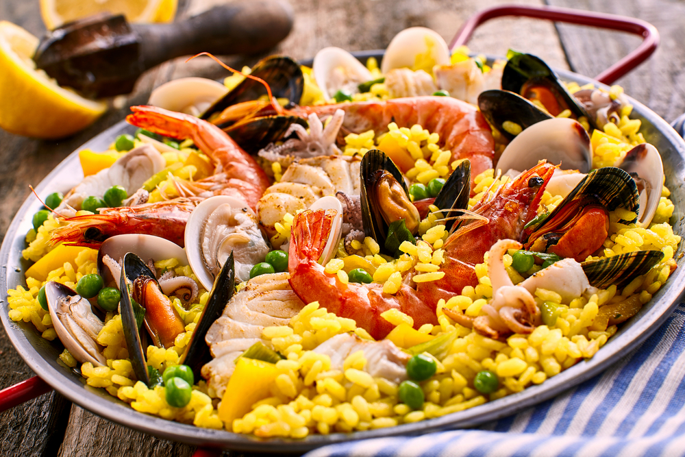 Spanish seafood paella dish