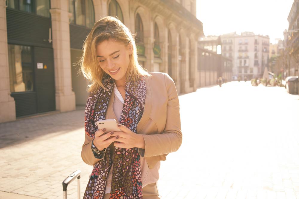 Woman looking in her smartphone