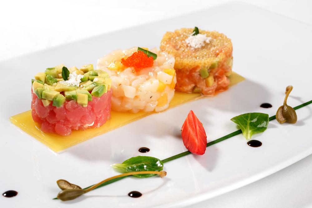 Tartar with caviar, tuna fish, salmon, and avocado.