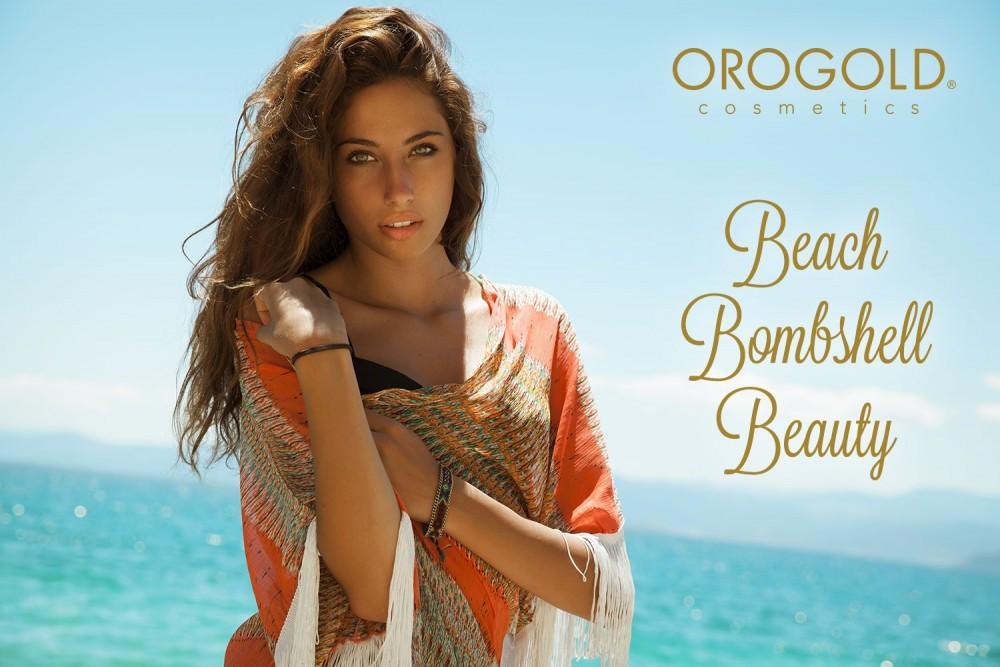 Beauty bombshell in a beach.