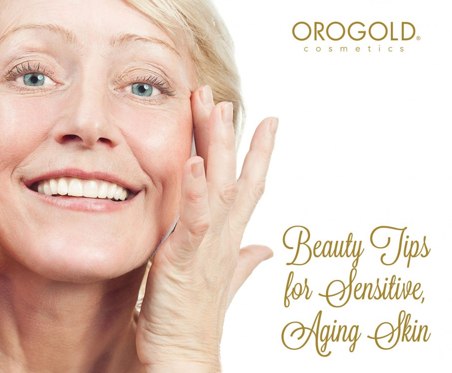 Aged woman applying anti-aging products on her face.