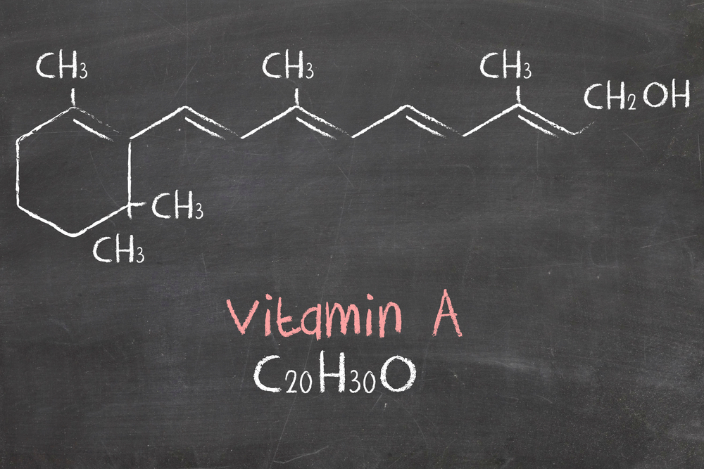 Chemical formula of vitamin A on a blackboard.