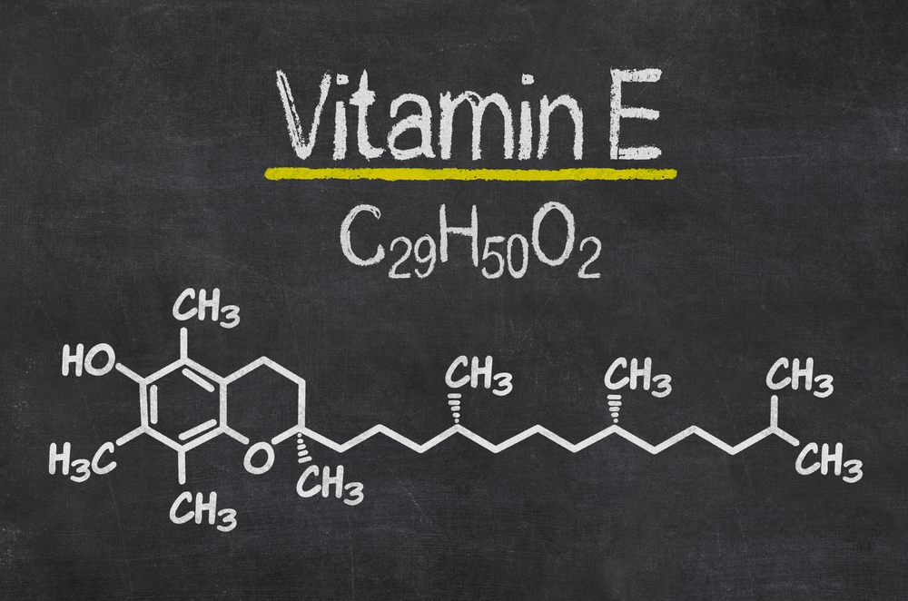Chemical formula of vitamin E on a blackboard.