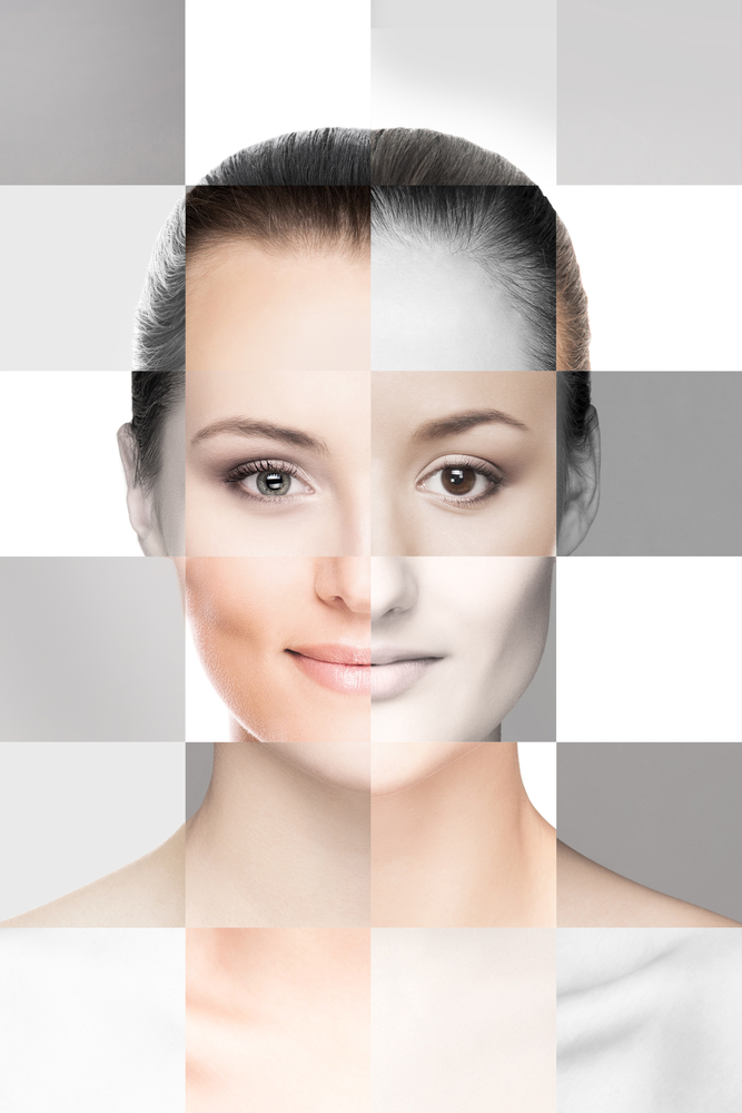 Woman's face divided in sections