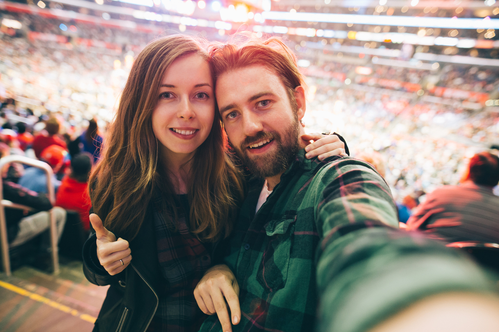 Couple at stadium