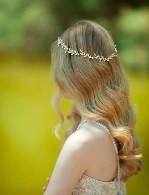 Gold leaf headband in blond hair