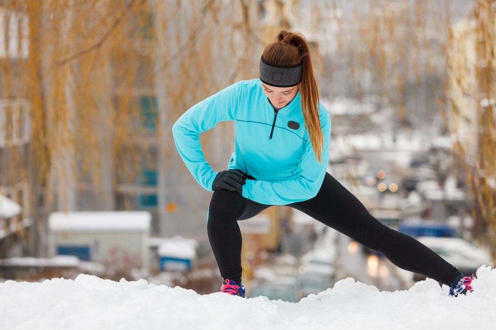 Woman exercising in winter