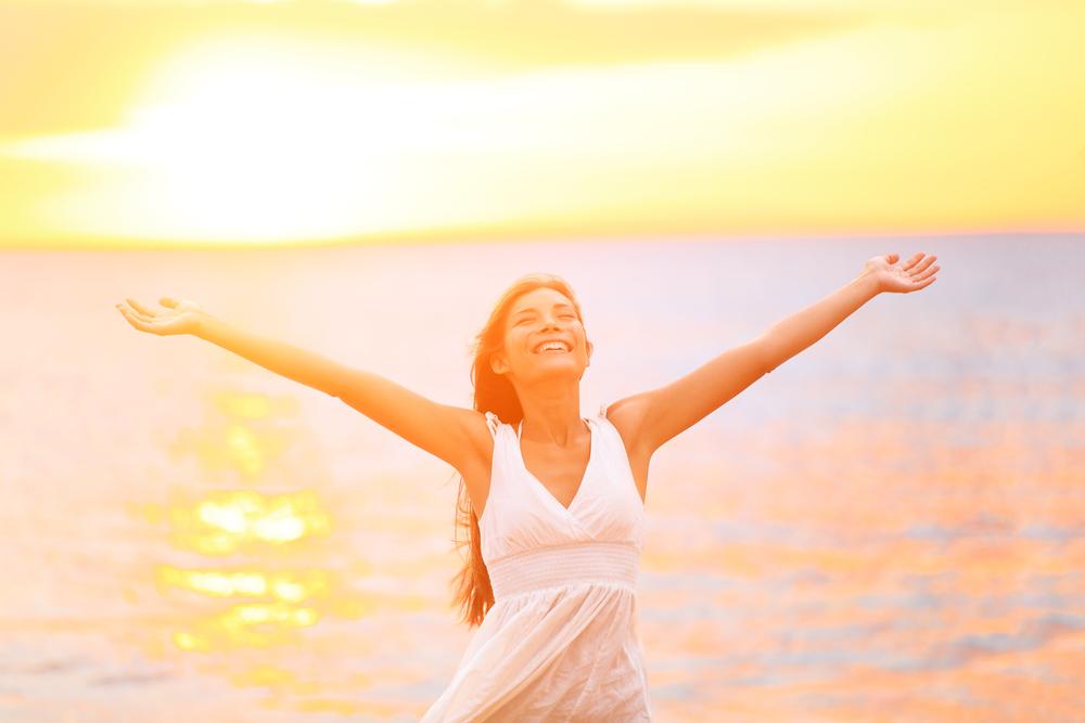 Woman enjoying the fresh air in a beach