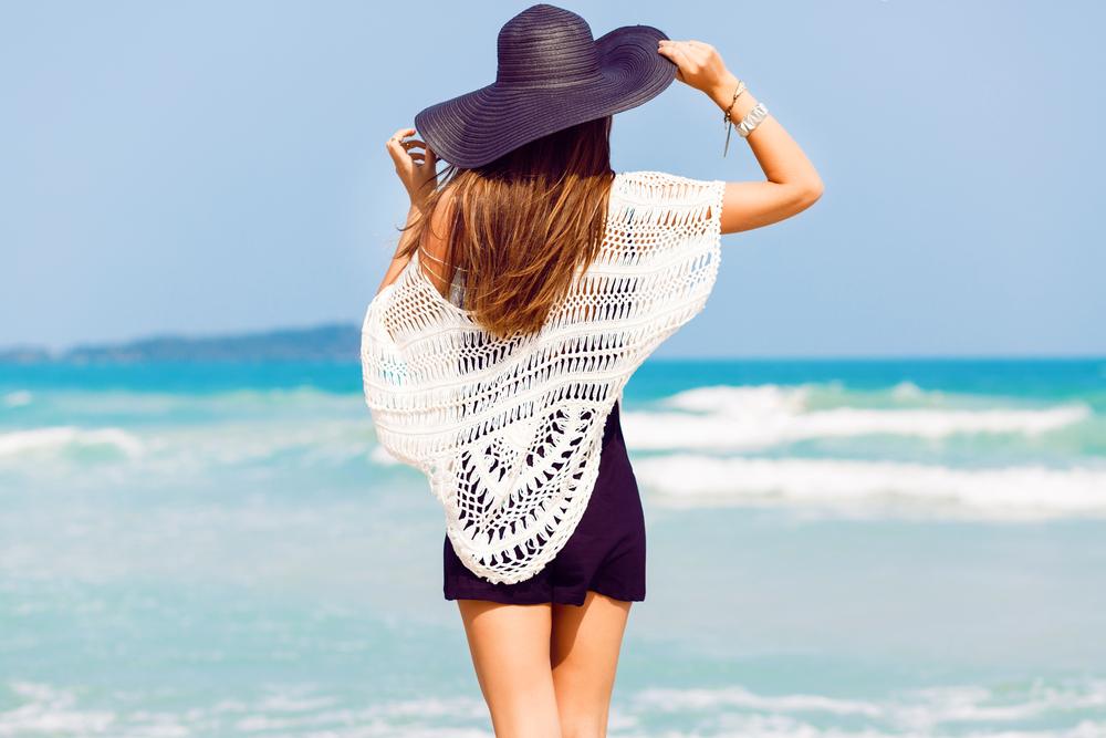 Fashionable woman in a beach