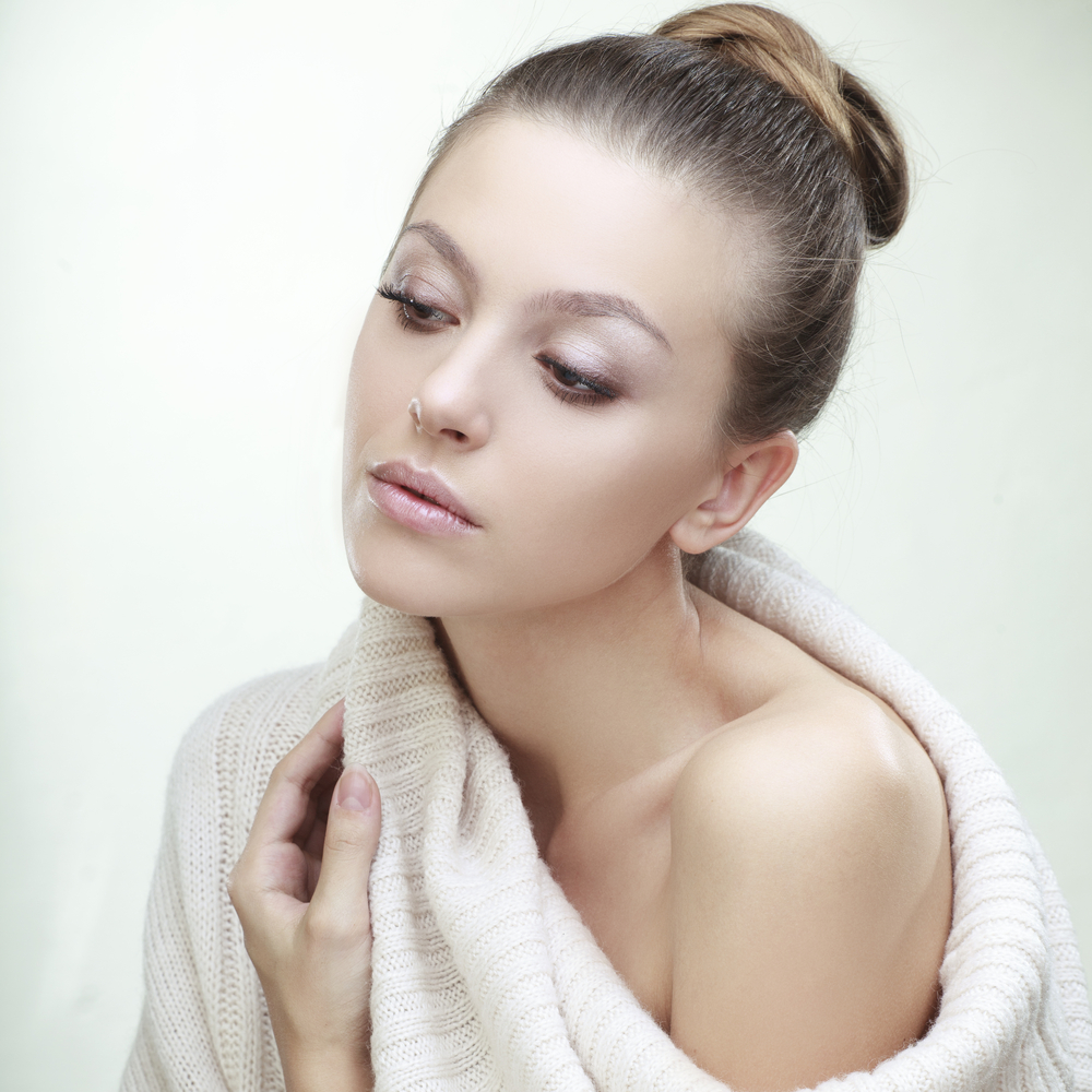 Woman with natural makeup.