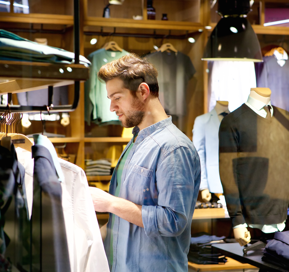 Man shopping for clothes.