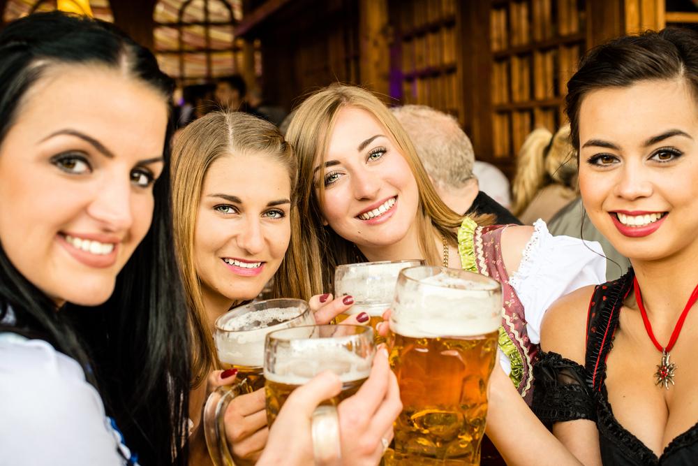 Women having beer.
