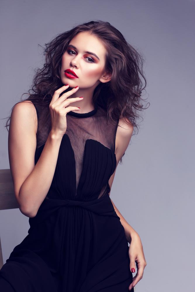 Woman wearing a black dress