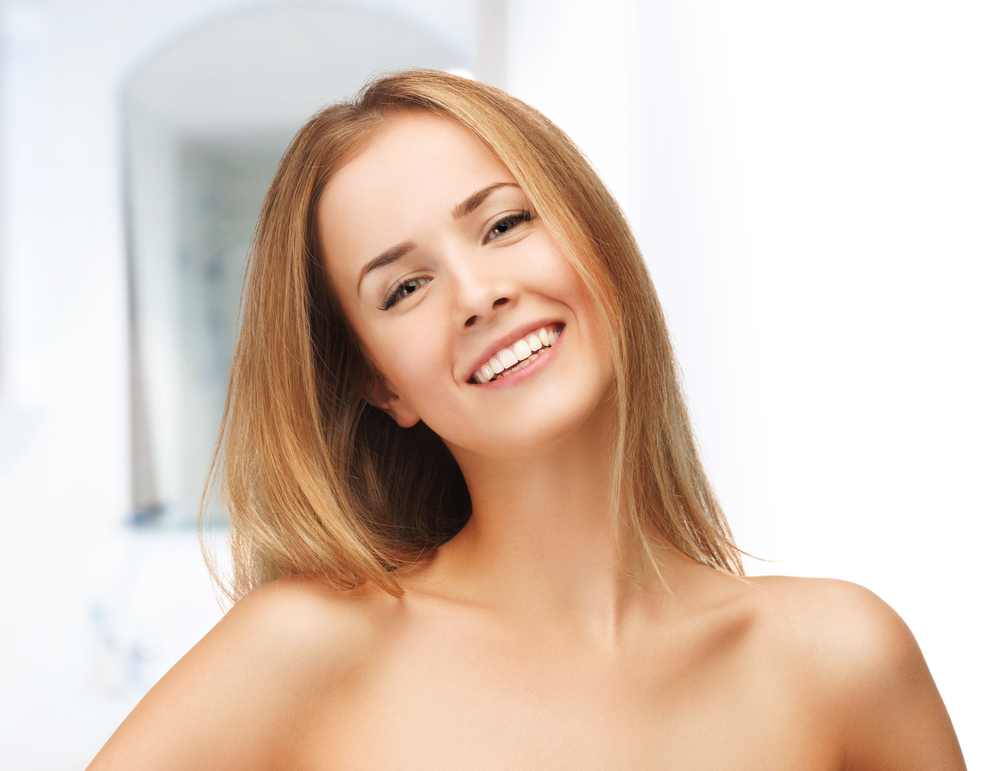 Smiling woman with clean face