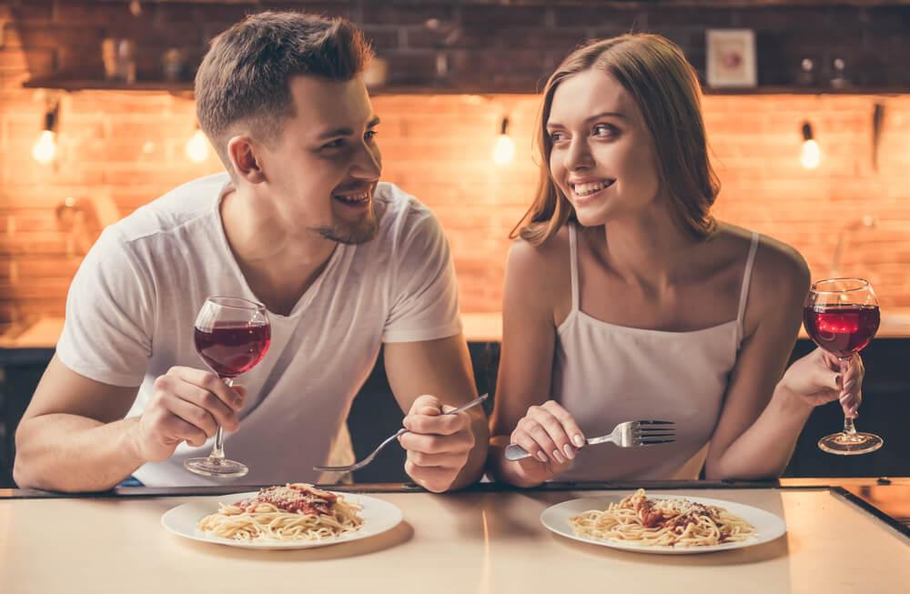 Happy couple enjoying date night