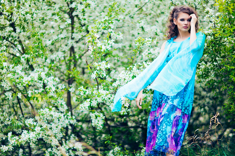 Woman wearing a beautiful flowy dress