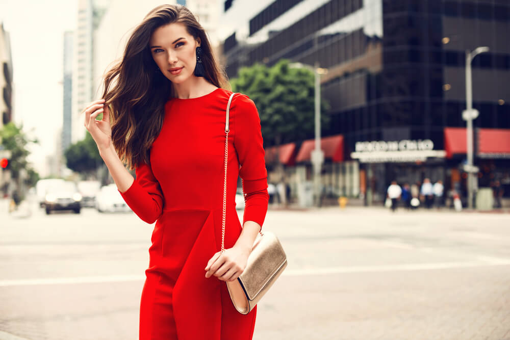 Woman in red dress on the streets