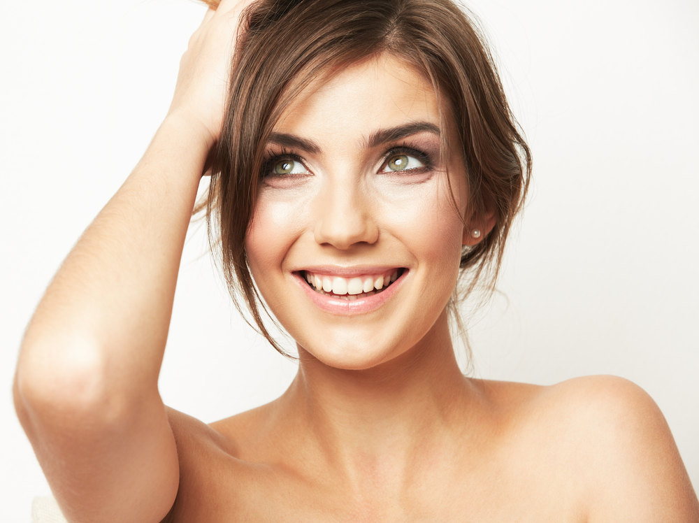 Woman with beautiful skin smiling