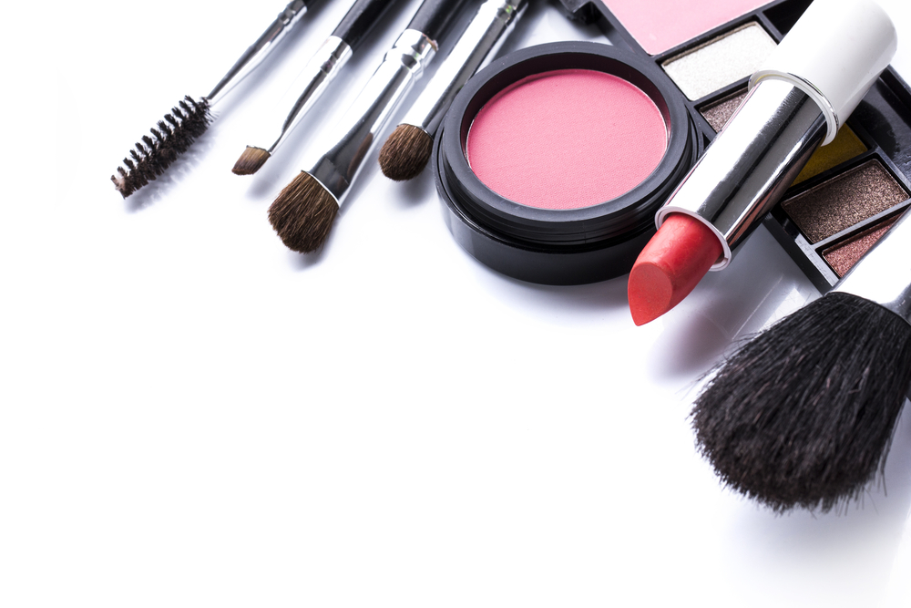 Cosmetics in an isolated white background.